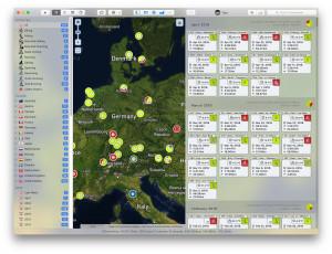 Zaznamenané aktivity na mapě - náhled