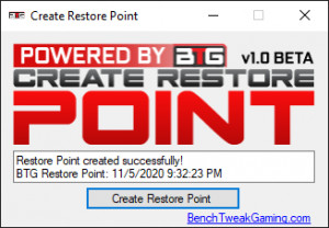 Create Restore Point - náhled
