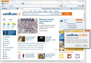 Lišta Centrum.cz pro Firefox - náhled