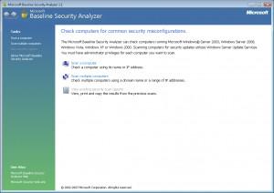 Microsoft Baseline Security Analyzer - náhled