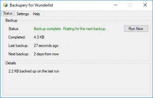 Backupery For Wunderlist - náhled