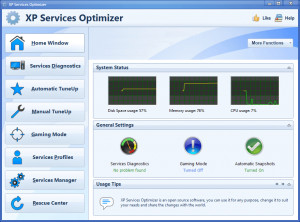 XP Services Optimizer - náhled