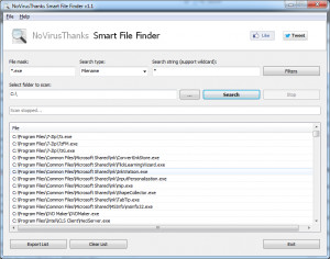 NoVirusThanks Smart File Finder - náhled