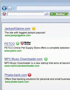 McAfee SiteAdvisor - náhled