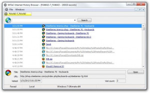 MiTeC Internet History Browser - náhled