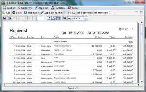 Domácí účetnictví - Daňová evidence - Pokladna - náhled