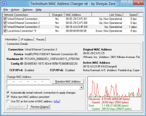Technitium MAC Address Changer - náhled
