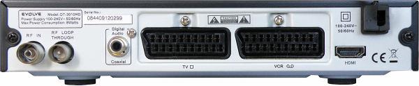 EVOLVE DT- 3010HD zadní panel