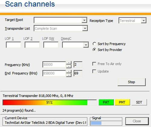 TechniSat Airstar scan channels