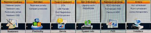 HS2100 CI USB základní menu - výběr