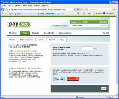 PaySec - nabíjení