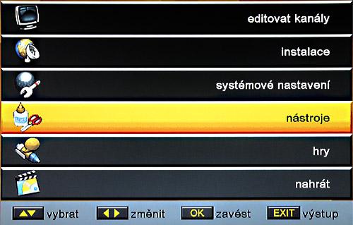 Satelita hlavní menu