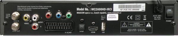 MASCOM MC2600HD IRCI zadní panel