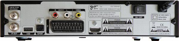 Go SAT GS 7055 Hdi zadní panel