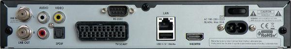 HD BOX IRD-8000 HD PVR zadní panel