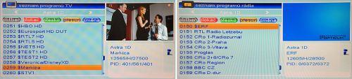 Opticum HD X100 seznam programů