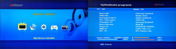 Set-top-box mVision HD-300 NET - hlavní menu