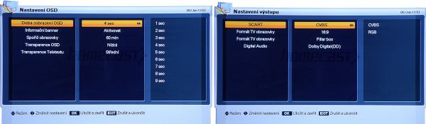 Homecast HS 3200CIIR nastavení OSD