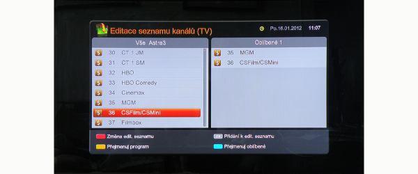 KAON KSF-SA700PIR editace seznamu