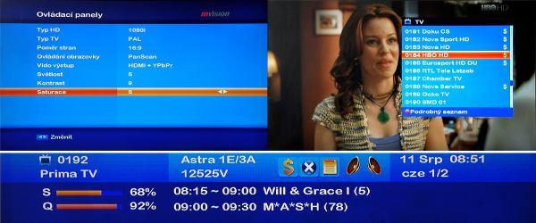 Set-top-box mVision HD-300 NET - nastavení obrazu