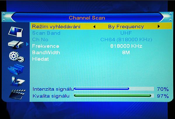 DI-WAY T-100HD RF vyhledání podle frekvence