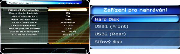 HD-BOX FS-9300 PVR - volba nahrávání