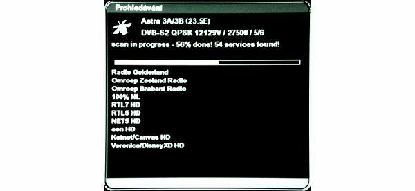 AB IPBox 9900 BB vyhledávání kanálů