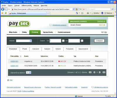 PaySec - přehled plateb