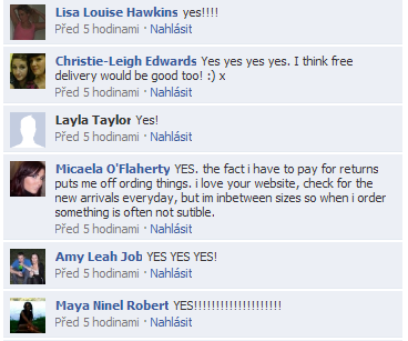 Ukázka z komentářů na Facebooku ASOS