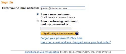 Amazon.com, Přihlášení zákazníka nebo registrace nového