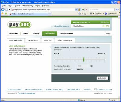 PaySec - nastavení limitu pro potvrzení