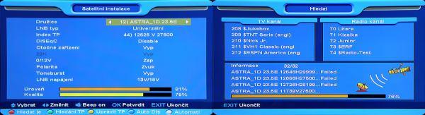 Opticum x403p HD nastavení a průběh ladění