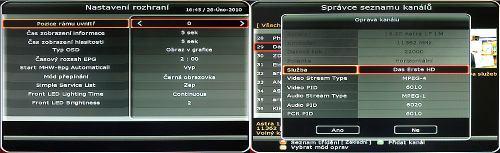 Octagon SF1008 HD - Inteligence rozhraní a seznam kanálů