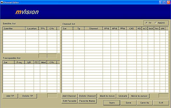 Set-top-box mVision HD-300 NET - editor kanálů na PC