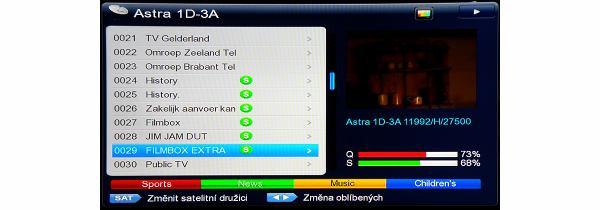DreamSky NXP256HD editace kanálů