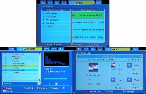 Ariva 120 TS Combo RSS, webradio, počasí
