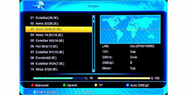 Amiko SHD-8900 Alien výběr družice