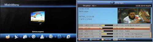 Unibox 9080 hlavní menu