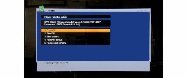 Homecast HS 3200IR nastavení karty