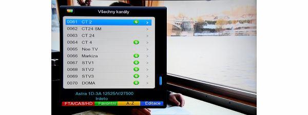 DreamSky NXP256HD listování kanálů