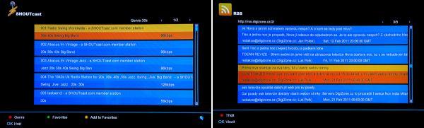Amiko SHD-8900 Alien Shoutcast a RSS