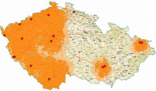 Mux 1 - pokrytí ČR k 1.6.2009