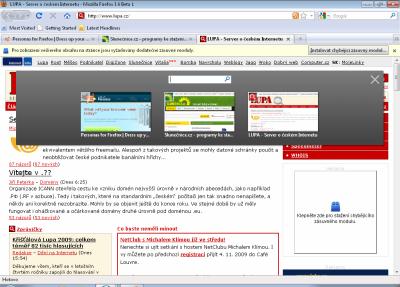 Firefox 3.6 - přepínání panelů