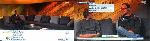 Test DVB-T2 Brno - informační pruh a výběr zvukové stopy