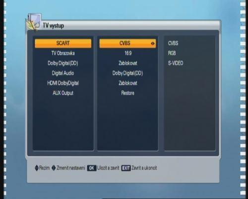 Homecast HS8500 CIPVR - menu