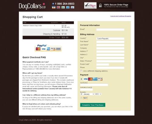 Na (velikostí drobném) e-shopu Dogcollars.ca je objednávka pouze v jednom kroku