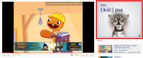 Ukázka umístění banneru na YouTube (označeno červeným rámečkem)