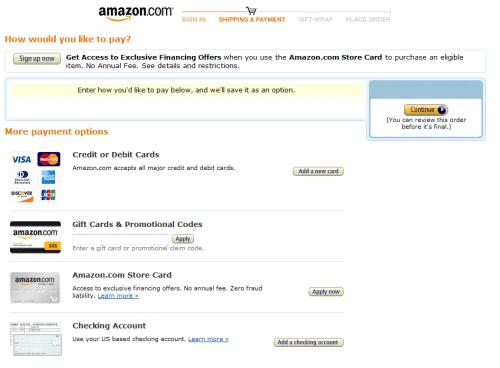 Možnosti platby na e-shopu Amazon.com, předposlední možnost: Amazon.com Store Card