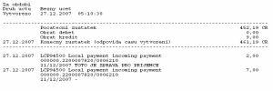 Banco Popolare, příchozí platba z mBank