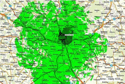 Mapa pokrytí - mux 3 Brno